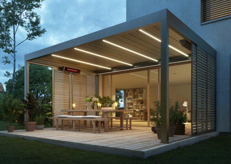 Schickes Lamellendach der Marke Warema in hochmodernem Design.
