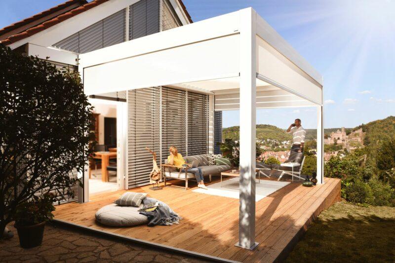 Modernes Lamellendach als Eyecatcher in Ihrem Garten.