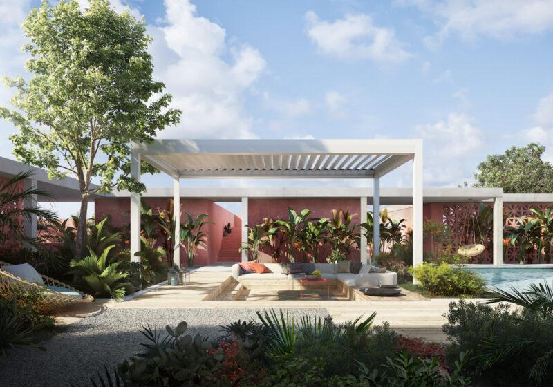 Hochwertiges Lamellendach in Weiß als perfekter Sonnenschutz für den Garten und die Terrasse.