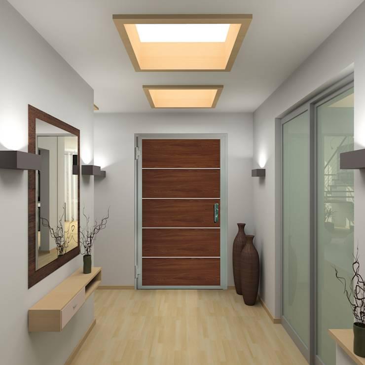 Moderne Wohnungseingangstür in Holzoptik