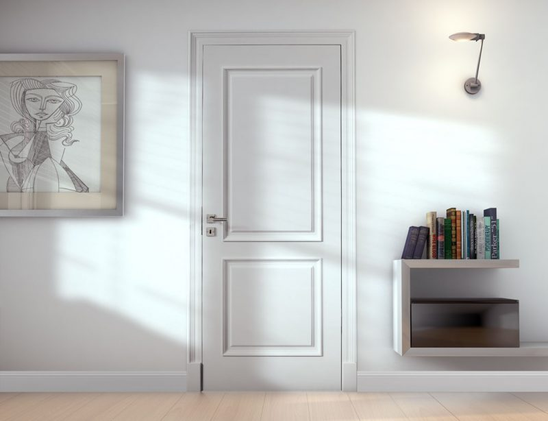 Weiße Innentür aus Holz und im Jugendstil.