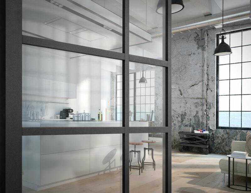 Moderne Glastüre für den Innenraum in modernem Stil.