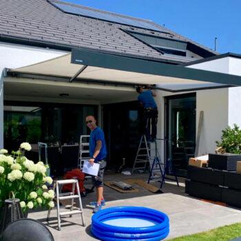 Hochwertige Markise als optimaler Sonnenschutz für die Terrasse.