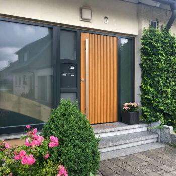 Holz-Haustüren mit Verglasung im Aluminium-Rahmen.