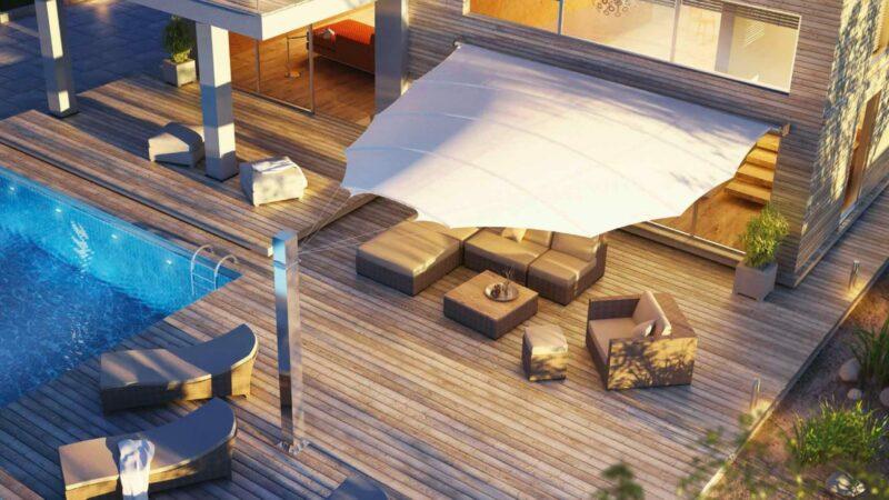 Modernes Sonnensegel in Flügelform zum perfekten Schutz Ihrer Terrassen-Lounge.