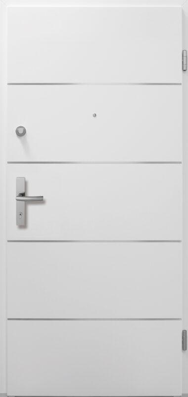 Weiße Wohnungseingangstür mit silbernen Linien als schönes Detail.