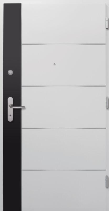 Weiße Wohnungseingangstür mit silbernen Linien als Detail und schwarzer schmaler Fläche.