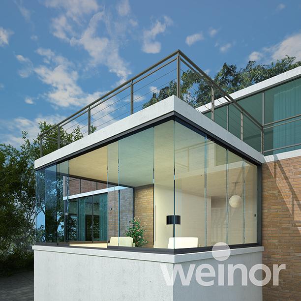 Super moderner Sommergarten der Marke Weinor zum Entspannen und Wohlfühlen.